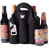 Insulated 6 Pack Beer Bottle Carrier with Opener, Thick Neoprene Bag. Keeps Cold and Protected, Machine Washable