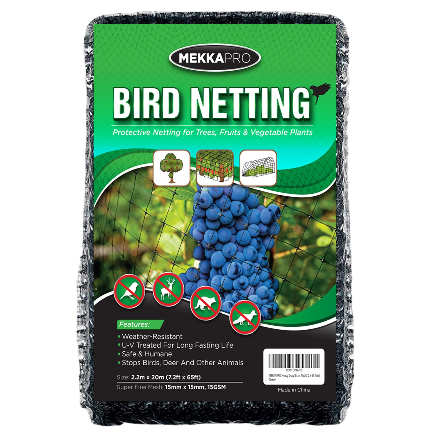 MEKKAPRO Heavy Duty Bird Netting, Garden Nets for Fruit, Vegetable, Plant Trees | Deer Netting and Fencing | Anti-Bird, Deer and Pests Net (7.2 x 65 feet)