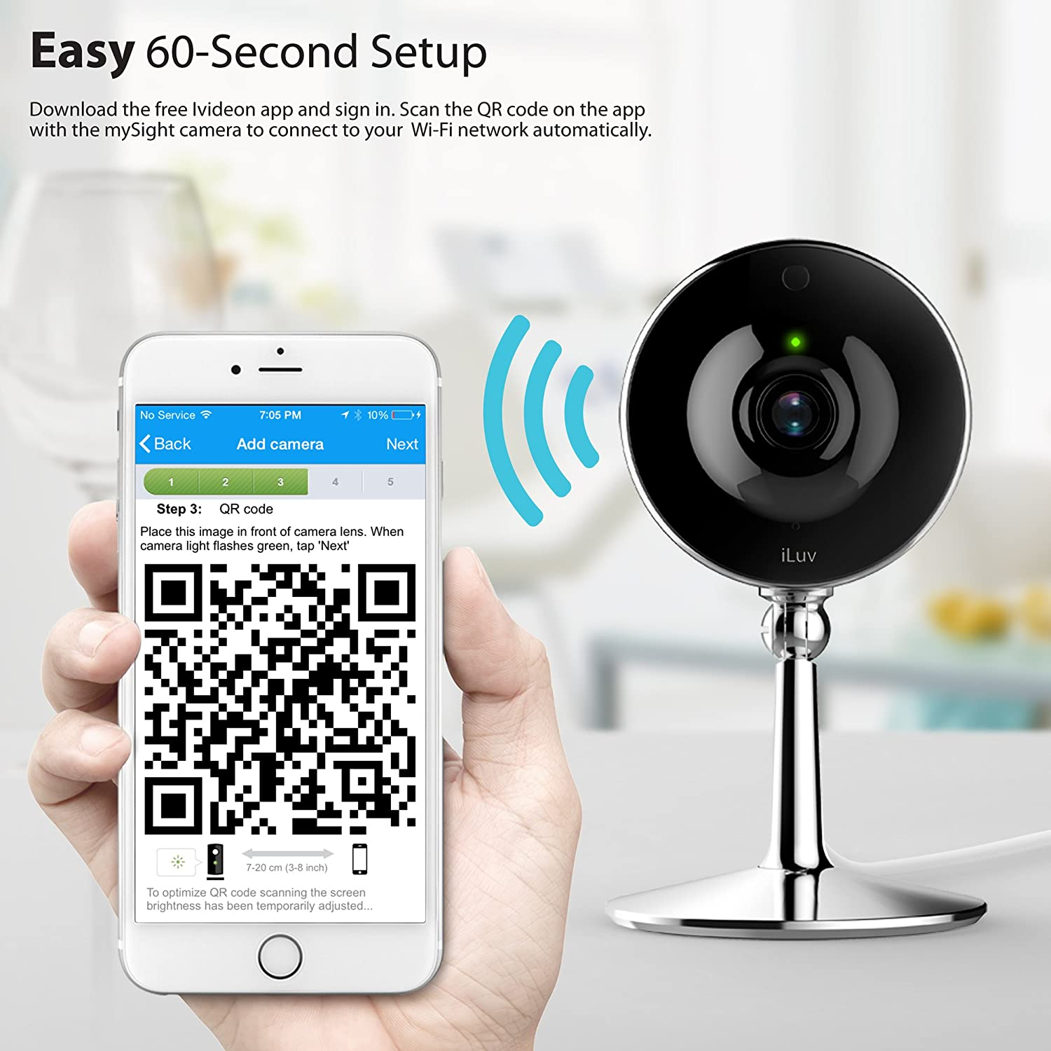 iLuv mySight Wi-Fi Cloud-Based HD Video Camera for Home and Business  Monitoring with Cloud Recording, Motion and Noise Detection, Mobile Alerts,