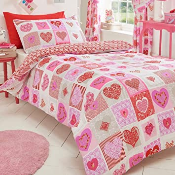Homespace Direct Hearts Flowers Patchwork Quilt Duvet Cover and 1 ... : quilt direct uk - Adamdwight.com