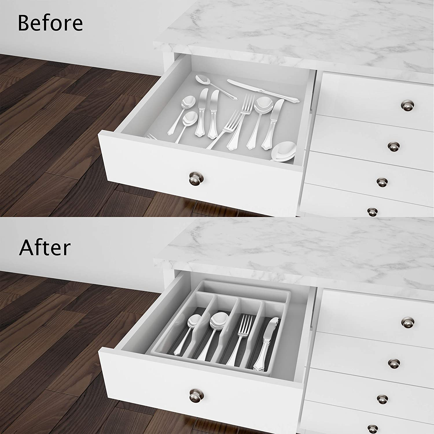 Lavish Home Silverware Organizer Cutlery and and Utensil Drawer Storage for Home or RV with Non-Slip Rubber Liner 5 Compartment Plastic Flatware