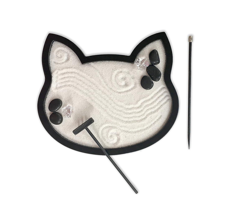 Mini Zen Garden Cat Black Feline Kitty Cat Desktop Sandbox for Meditation and Relaxation