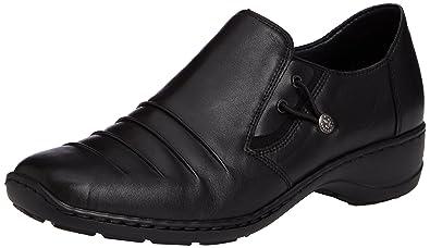 Rieker 58353 - Zapatos sin Cordones de Cuero Mujer, Color Negro, Talla 38