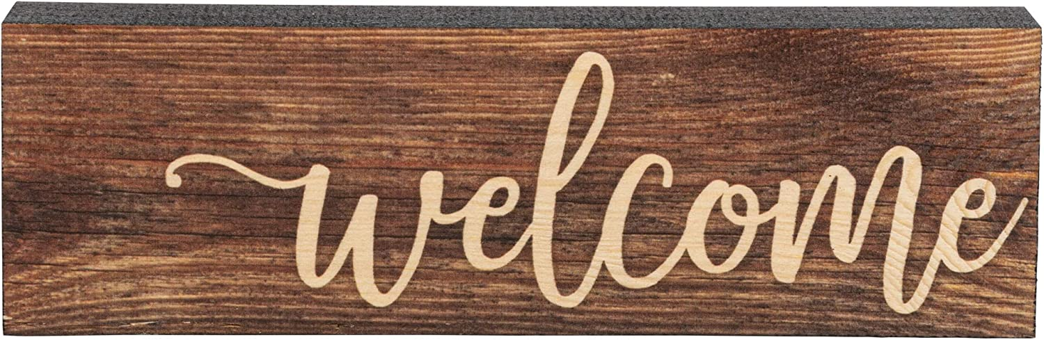 P. Graham Dunn Welcome Script Design Brown 17 x 3.5 Inch Solid Pine Wood Barnhouse Block Sign