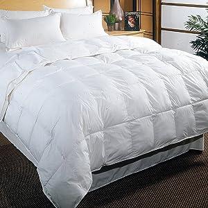 Blue Ridge Home Fashions Olympia Cotton Cambric White Down Comforter - King