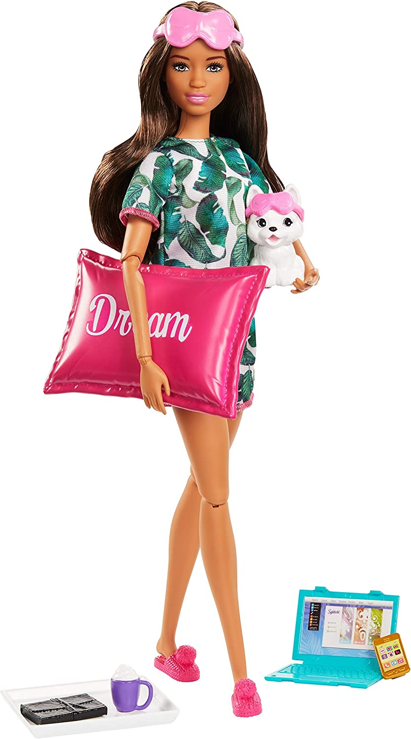 Amazon.com: Barbie Relaxation Doll, Brunette, with Puppy and 8 Accessories,  Including Pillow, Journal and Sleep Masks, Gift for Kids 3 to 7 Years Old:  Toys & Games