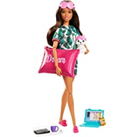 Barbie GJG58 Relaxation Doll, Brunette, with Puppy and 8 Accessories, Including Pillow, Journal and Sleep Masks, Gift…