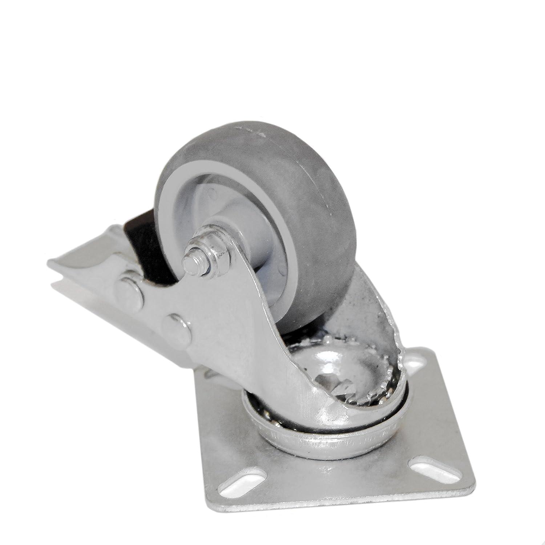 Heavy Duty 50mm Grey Solid 360 Degree Swivel Rubber Castor 10x Braked 10 x UnBraked Wheel Hospital Shops Furniture Schools Homes 50KG Load Capacity
