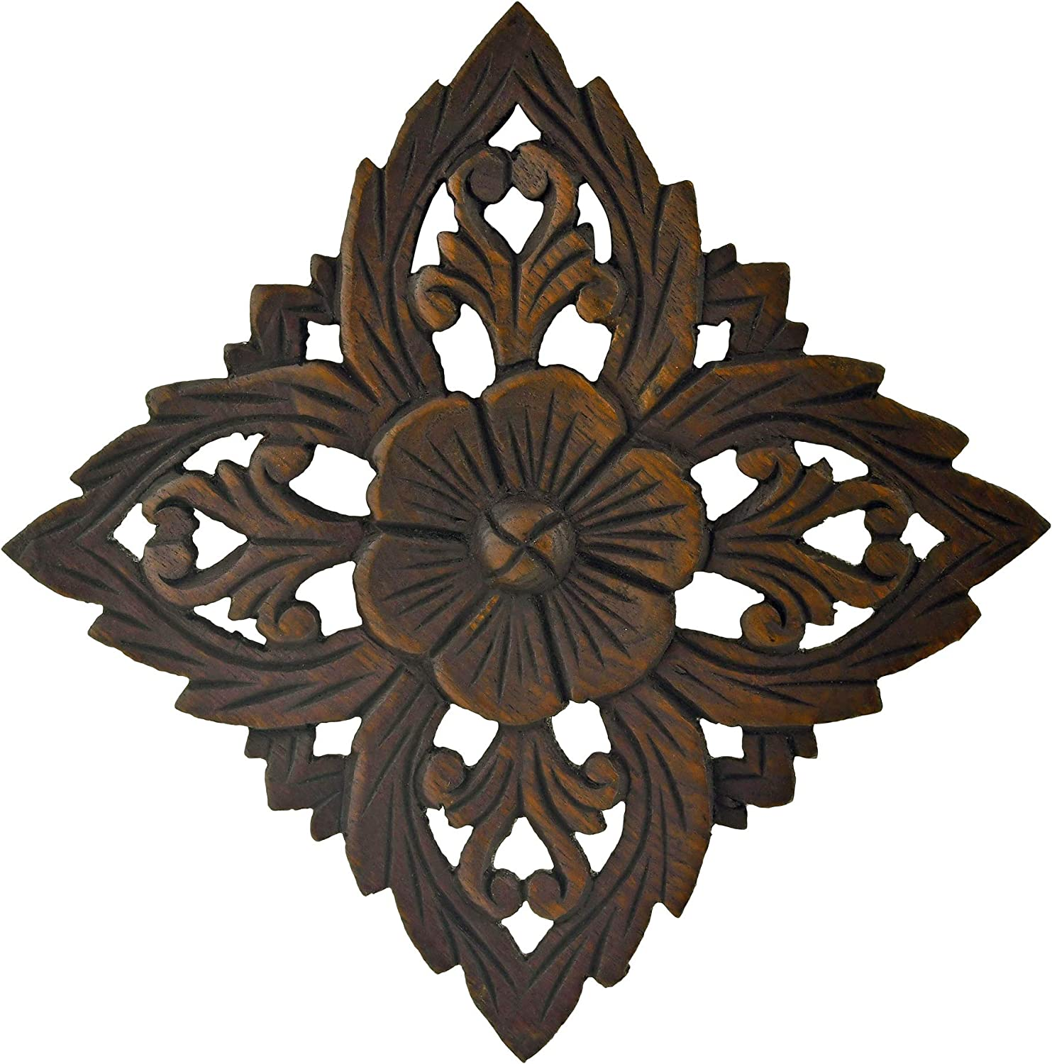 AeraVida Amazing Floral Inspired Hand Carved Wooden Wall Art