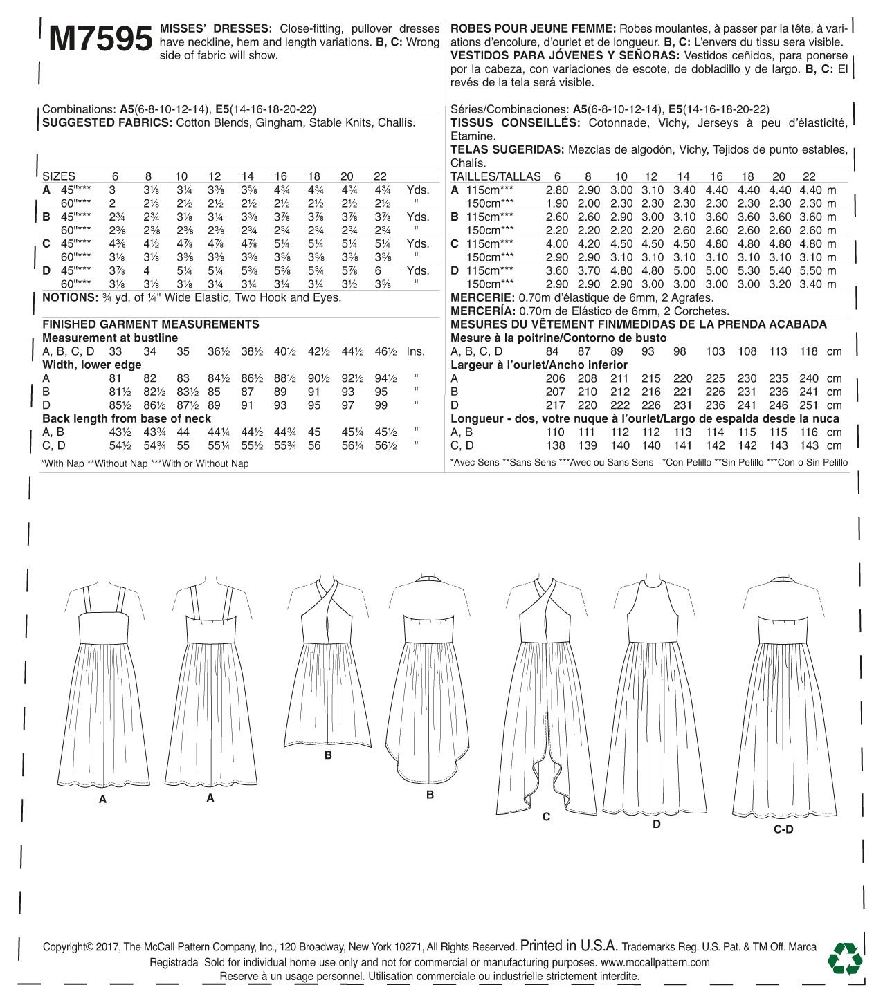 Amazon.com: Butterick M7595-A50 Misses Gathered-Waist Pullover Dresses, 6-8-10-12-14
