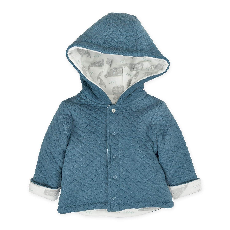 newborn Dark Blue Quilted Kimono Jacket with Hood /& Whale Print Mac /& Moon Baby Boy Outwear