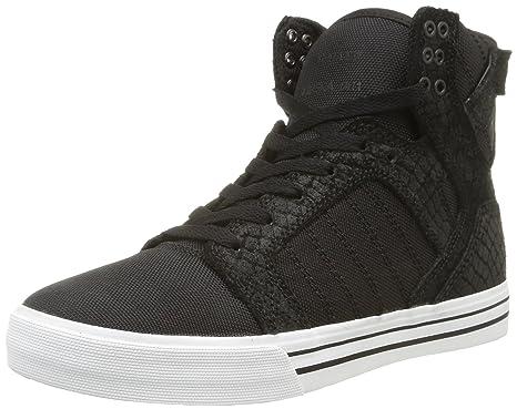 sports shoes fc9d0 a86de Supra Skytop, Black Snakeskin Embossed Suede Men s 7, Women s 8.5 D - Medium