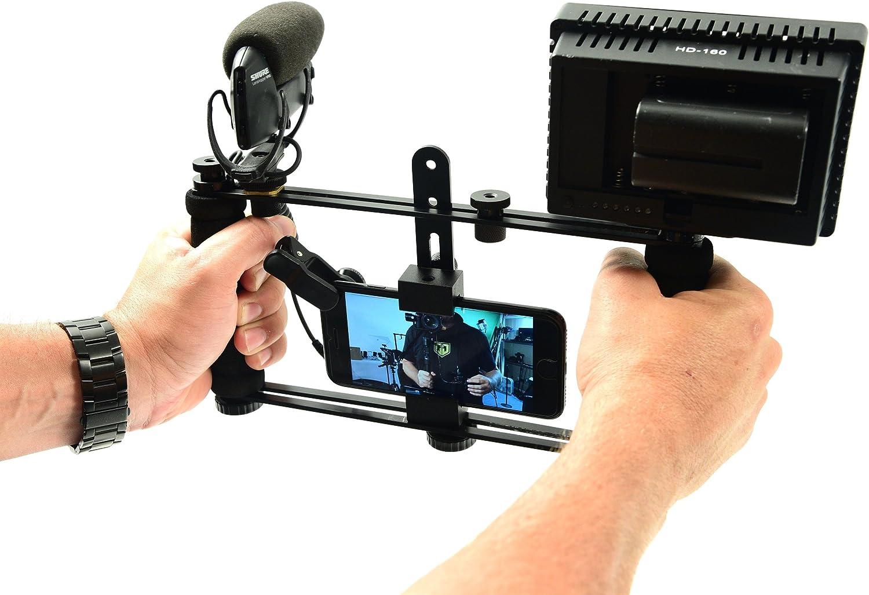Glide Gear DM100 All Metal Professional Smartphone iPhone Mount Video Teleprompter Adapter Holder Shooter Camera Rig Phone Video-maker Film-maker Videographer for all Smartphones
