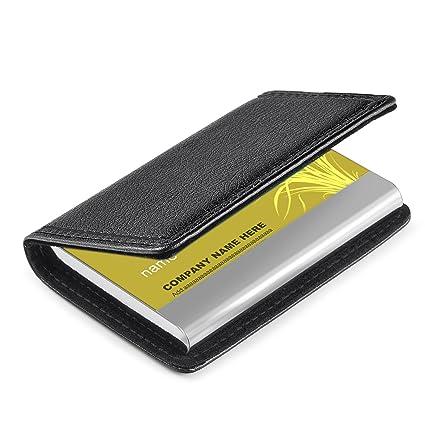 Amazon business card holder wisdompro pu leather metal name business card holder wisdompro pu leather metal name card holder wallet case with magnetic colourmoves