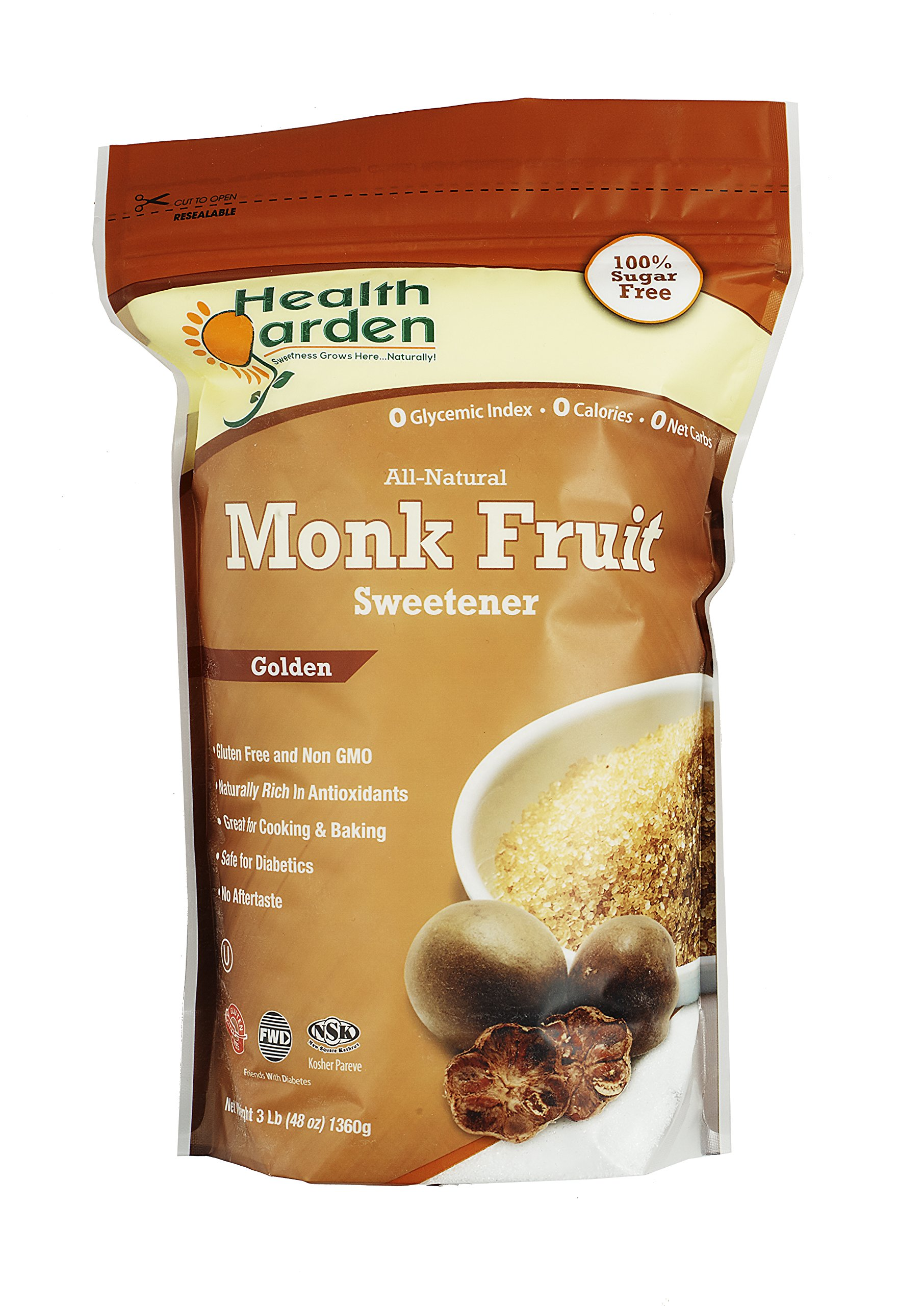 Health Garden Kosher Monk Fruit Sweetener, Golden, 3 lb.