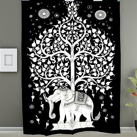decoraci/ón del dormitorio rec/ámara Tapiz de mandala de elefante blanco y negro para decoraci/ón del hogar tapiz para colgar en la pared,bohemia decoraci/ón de la reina india manta de playa bohemio