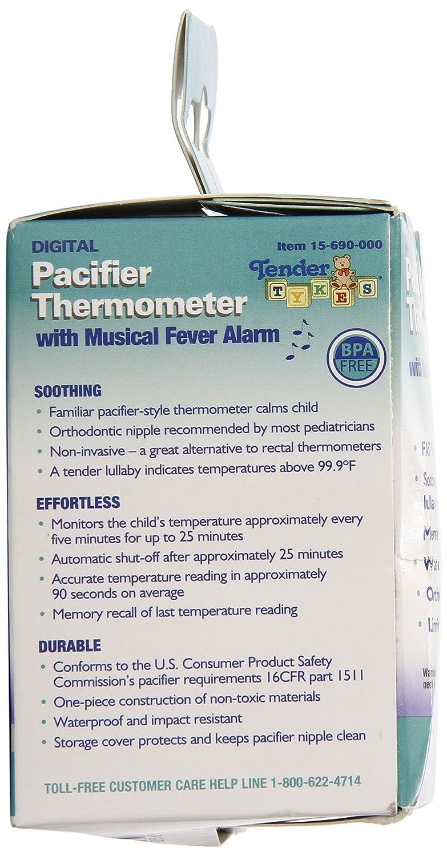 Amazon.com : Impermeable Digital chupete termómetro con alarma Fiebre Musical para Bebés y niños, blanca : Baby