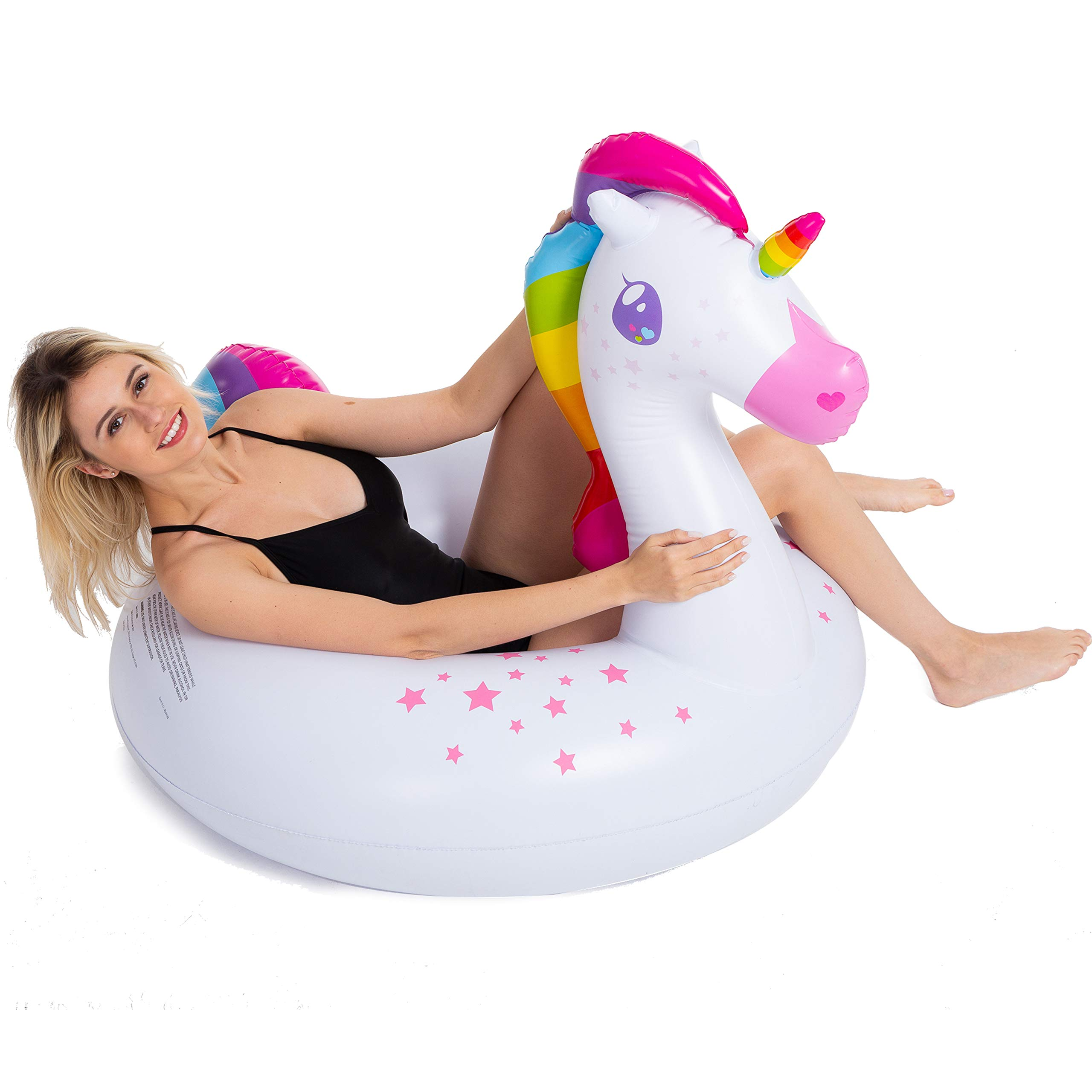 JOYIN Inflatable Flamingo and Unicorn Pool Float 2 Pack, Fun Beach Floaties, Swim Party Toys, Summer Pool Raft Lounger for Adults & Kids (Inflates to Over 4ft. Wide) by JOYIN (Image #5)