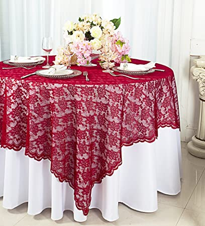 Amazon Wedding Linens Inc 72 In X 72 In Lace Table Overlays