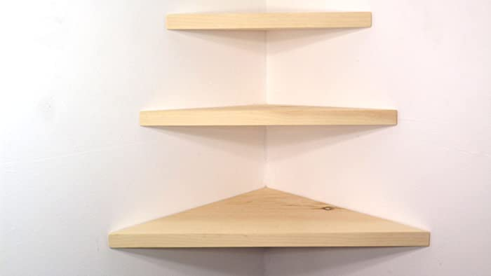 Set Of 3 Wood Floating Corner Wall Shelves Unfinished DIY Project Handmade  In The USA