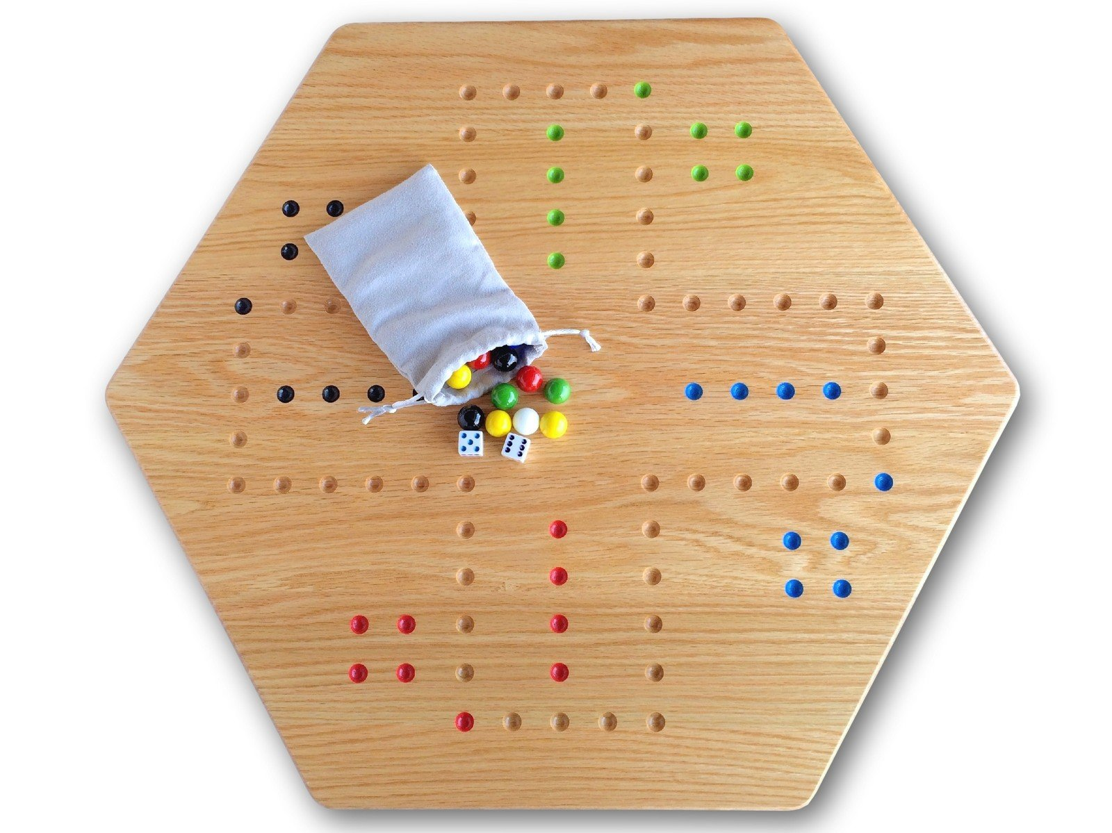 Large Oak Hand-Painted 24'' Wooden Aggravation Game Board, Double-Sided by AmishToyBox.com by AmishToyBox.com