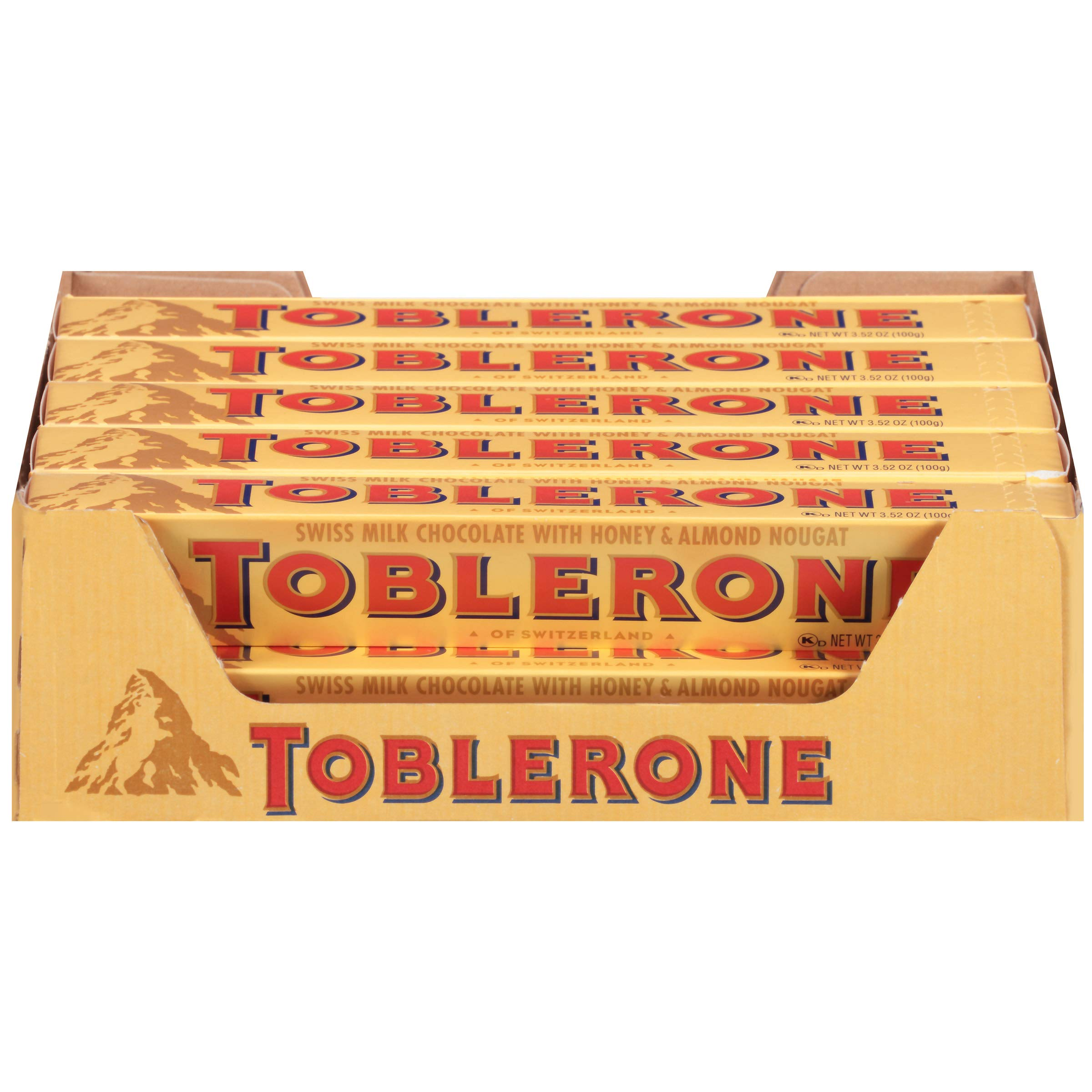 Toblerone Swiss Milk Chocolate with Honey & Almond Nougat, 20 - 3.52 oz Bars