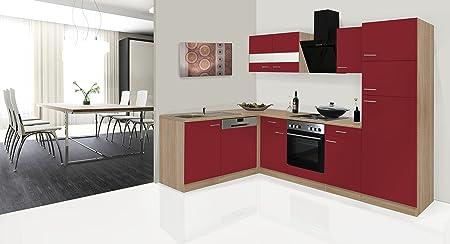 respekta Economy - Mueble para Cocina en ángulo en L Rojo 280 x 172 cm Incluye Campana de diseño: Amazon.es: Hogar