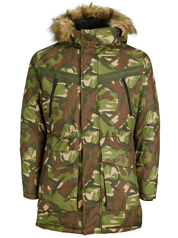 Rosin Jack & Jones Men's Hooded Camouflage Parka Coat