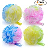 Loofah Bath and Shower Sponge Set of 4 , Exfoliating Mesh Pouf Bath Sponge Ball(60g/each)