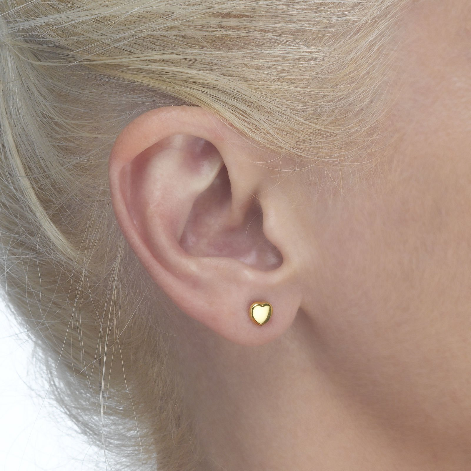 14K Fine Yellow Gold Heart Screw Back Stud Earrings for Girls Kids Children Gift by youme Gold Jewelry (Image #2)