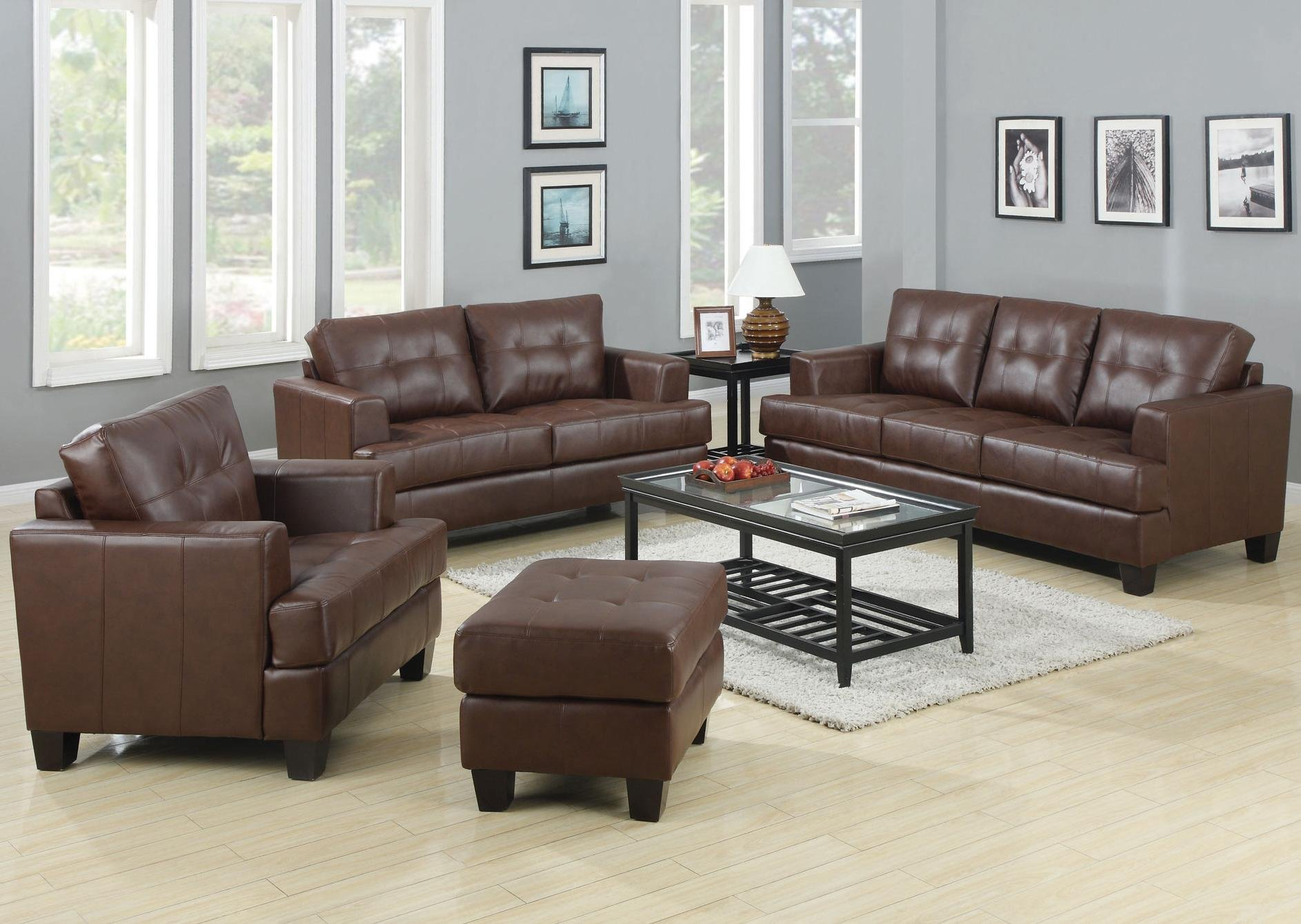 Coaster Home Furnishings Samuel Living Room Set with Sofa , Love Seat , Chair , and Ottoman in Brown Premium Bonded Leather