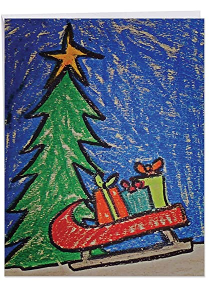 Huge Christmas Card.Huge Christmas Coloring Merry Christmas Card Size 8 5 X 11 Sweet Childrens Crayon Cartoon Xmas Tree Boxes Of Gifts Holiday Sleigh