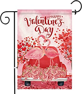 Hexagram Valentines Day Garden Flag 12 x 18 Inch Red Truck Pink Flamingos Valentine Decor Burlap Flags for Outdoor Porch Yard Double Sided Valentine's Day Home Decor Flag