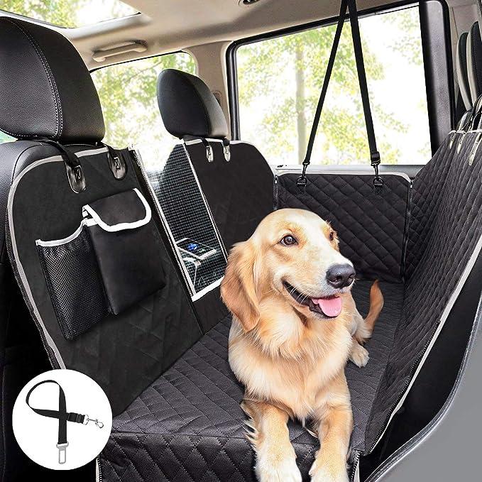 Pecute Hundedecke Für Auto Rückbank Mit Mesh Fenster Kofferraumdecke Für Hunde 146x136cm Hand Autoschondecke Mit Sicherheitsgurt Rücksitzbezüge Für Hunde Schwarz Einfarbig Haustier