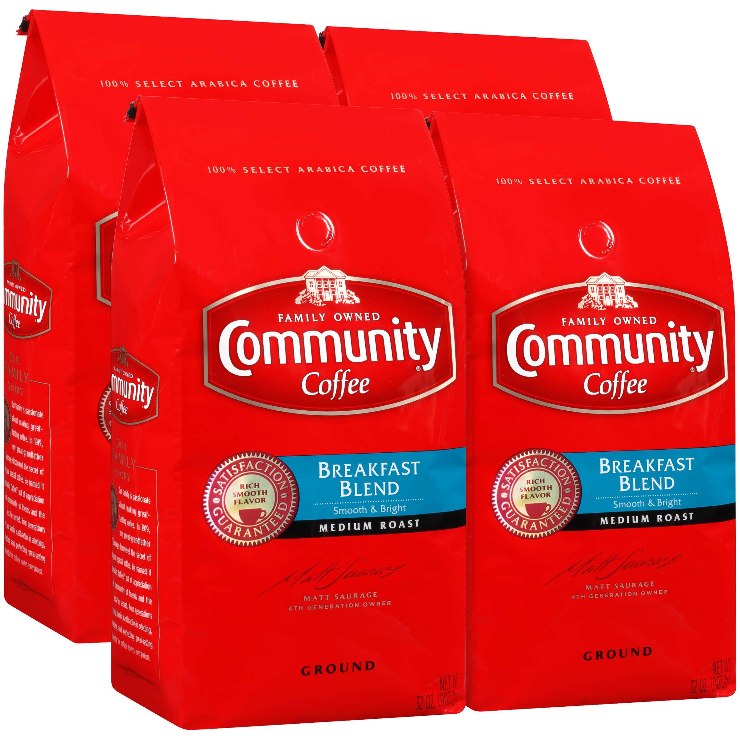 Community Coffee Breakfast Blend Medium Roast Premium Ground 32 Oz Bag (4 Pack), Medium Full Body Smooth Bright Taste, 100% Select Arabica Coffee Beans