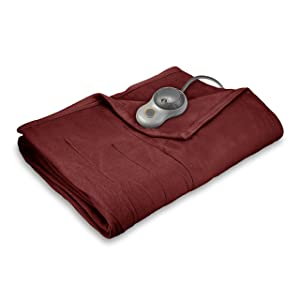 Sunbeam Heated Blanket | 10 Heat Settings, Quilted Fleece, Garnet, Twin