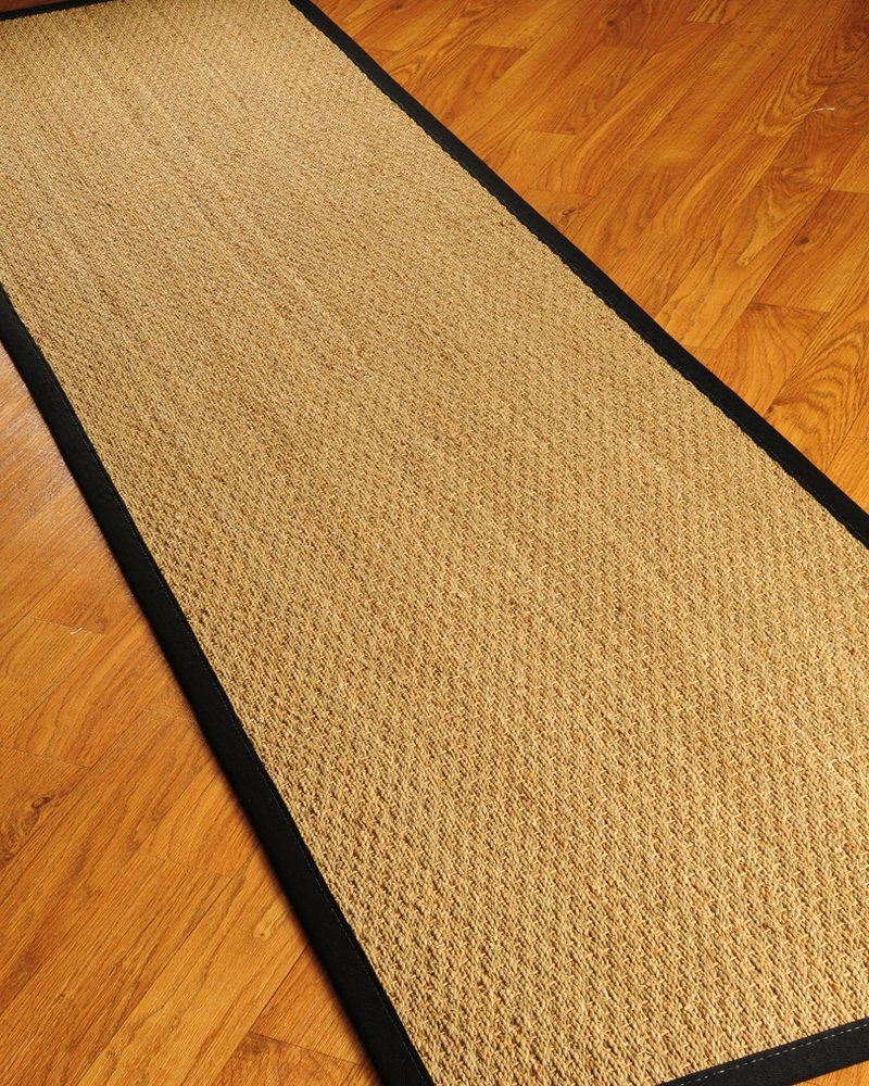 """NaturalAreaRugs Half Panama Seagrass Runner, 100 Percent Natural Fiber, 2' 6"""" x 8', Black Border - All natural, handcrafted by Artisan rug maker. Made in USA. 100 percent cotton border, dotted non-slip cotton backing Made from nature's finest materials and earth friendly. - runner-rugs, entryway-furniture-decor, entryway-laundry-room - 81sUvnNaiiL -"""