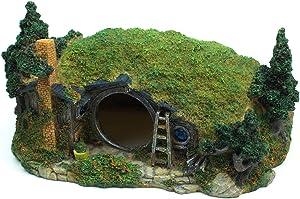 YSLDSNX Aquarium Ornaments Fish Tank Supplies Decorations Landscape Scenery Bookcase Accessories Resin Decor Hobbit Reptile House Big Large Cave Handmade