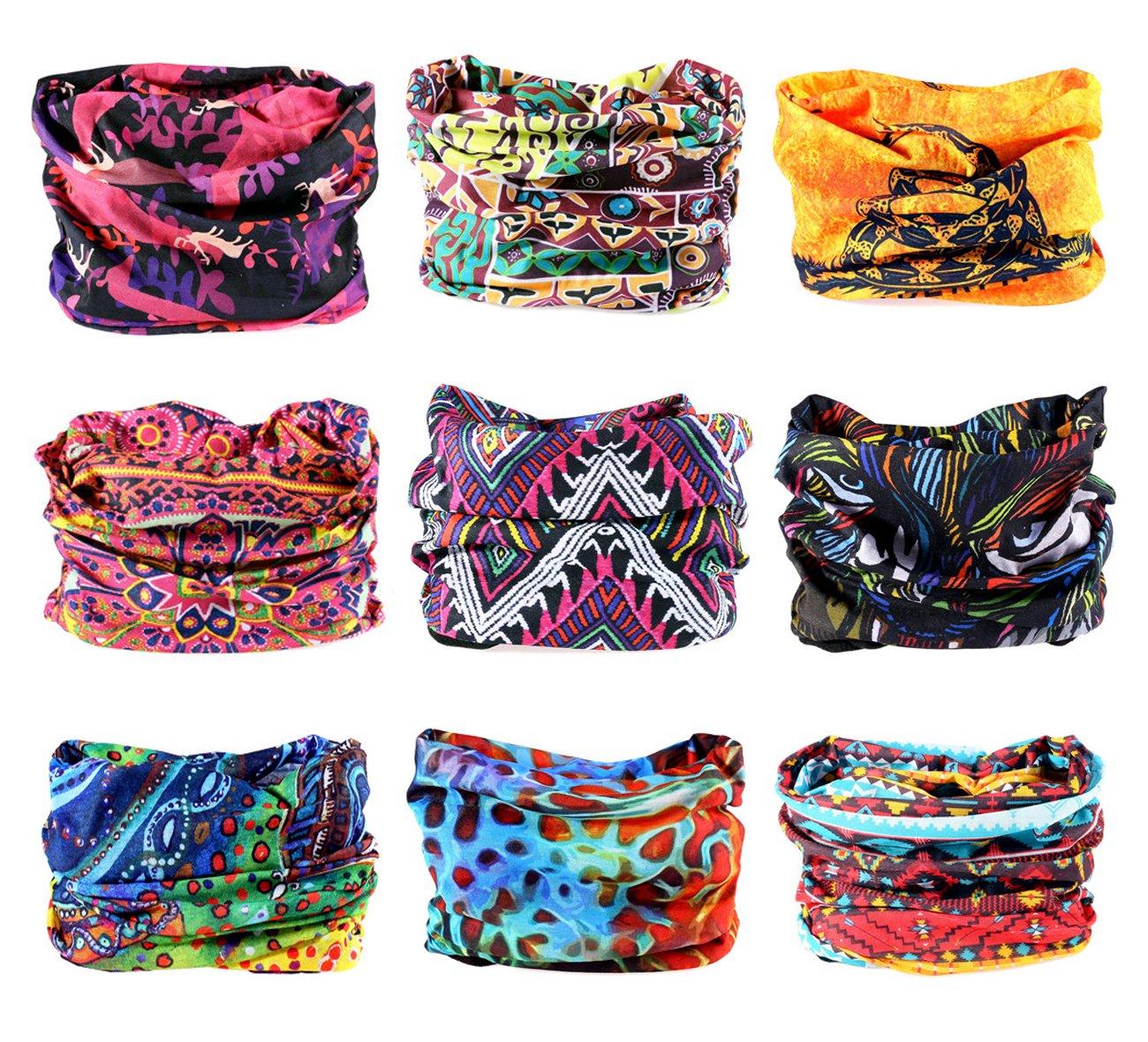 KINGREE 9PCS Headwear, Womens and Mens Headband, Guys Sweatband & Sports Head Tie for ATV/UTV Riding, Outdoor Magic Scarf, Bandanna Headwrap, (Indian Dreams)