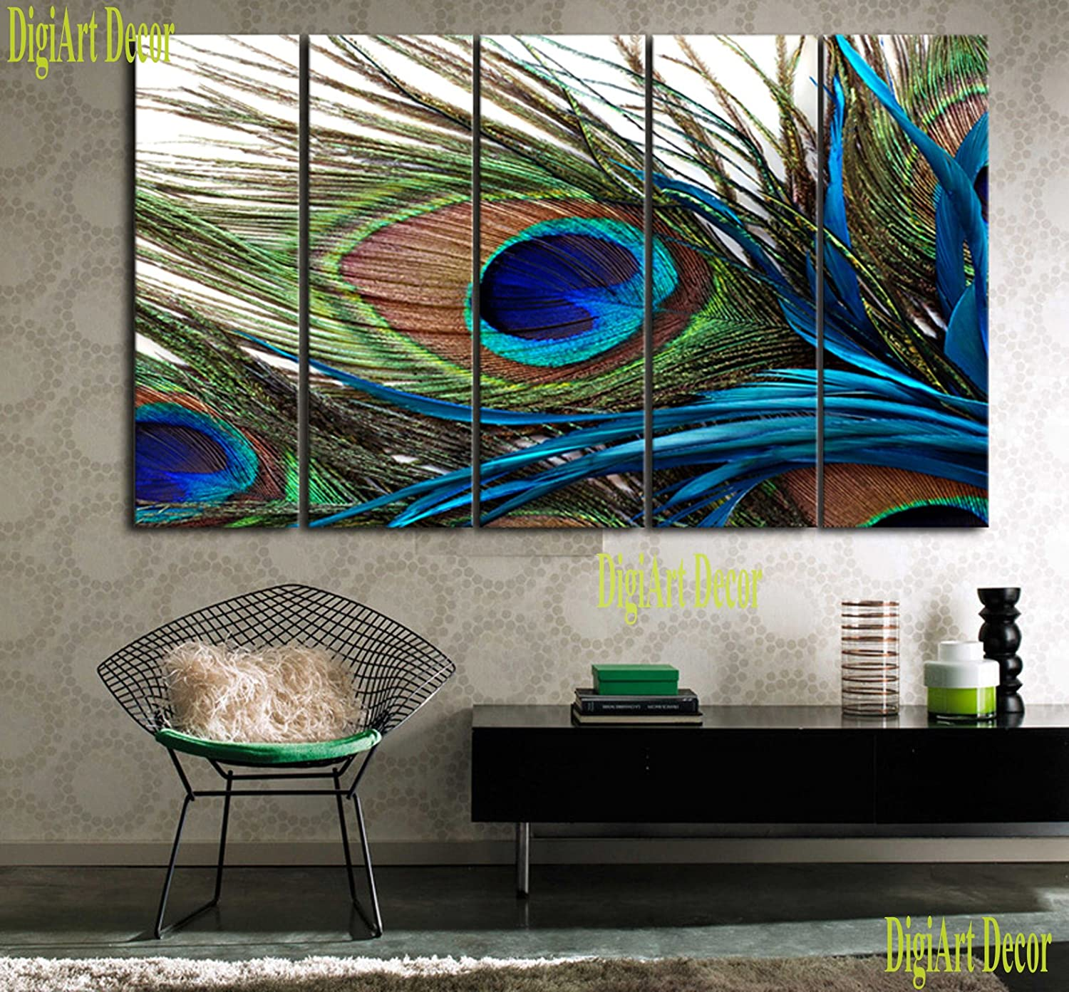 peacock inspired living room. Amazon com  PEACOCK FEATHER Ready to hang 5 piece wall art print mounted on fiberboard canvas better than stretched arts size 10x28x1 each