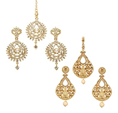 Bindhani Indian Wedding Head Gold Plated Jewelry Maang Tikka Earrings For Women Jewelry & Watches Bridal & Wedding Party Jewelry