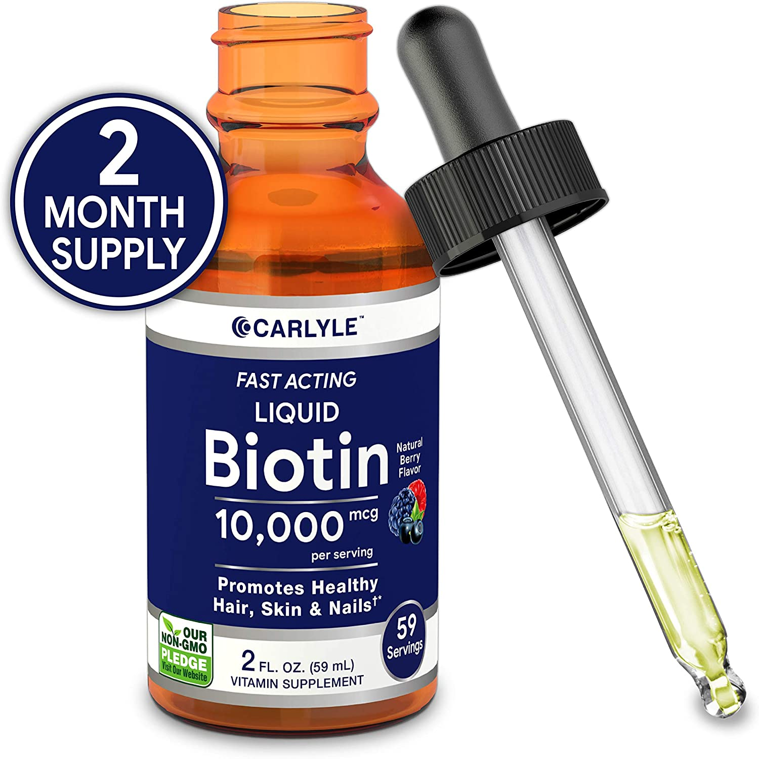 Liquid Biotin 10000mcg Extra Strength Drops | 2 oz | for Hair, Skin, Nails | Vegetarian, Non-GMO, Gluten Free Supplement | by Carlyle