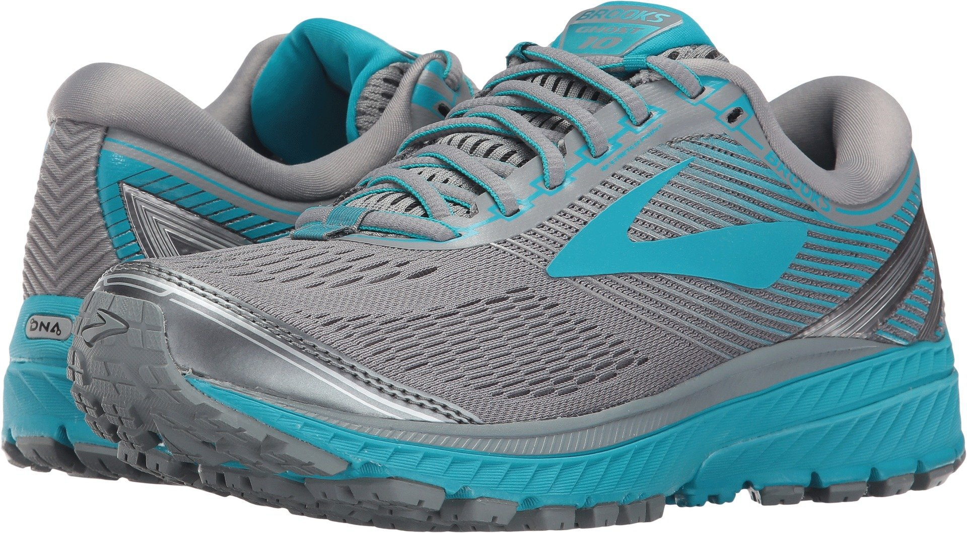Brooks Women's Ghost 10 Primer Grey/Teal Victory/Silver 7.5 B US