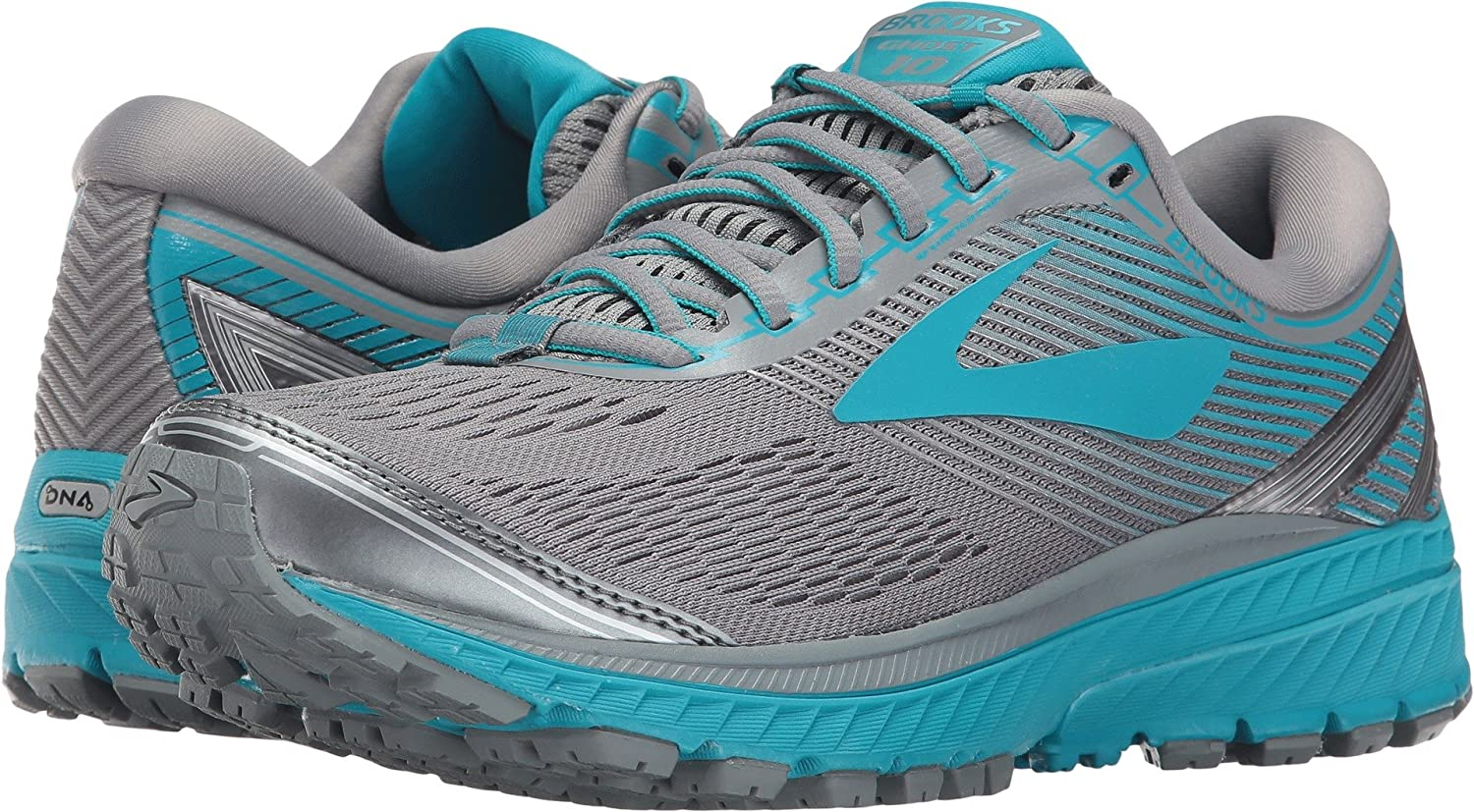 Brooks Womens Ghost 10 B01N0B8EBK 8 D US|Primer Grey/Teal Victory/Silver