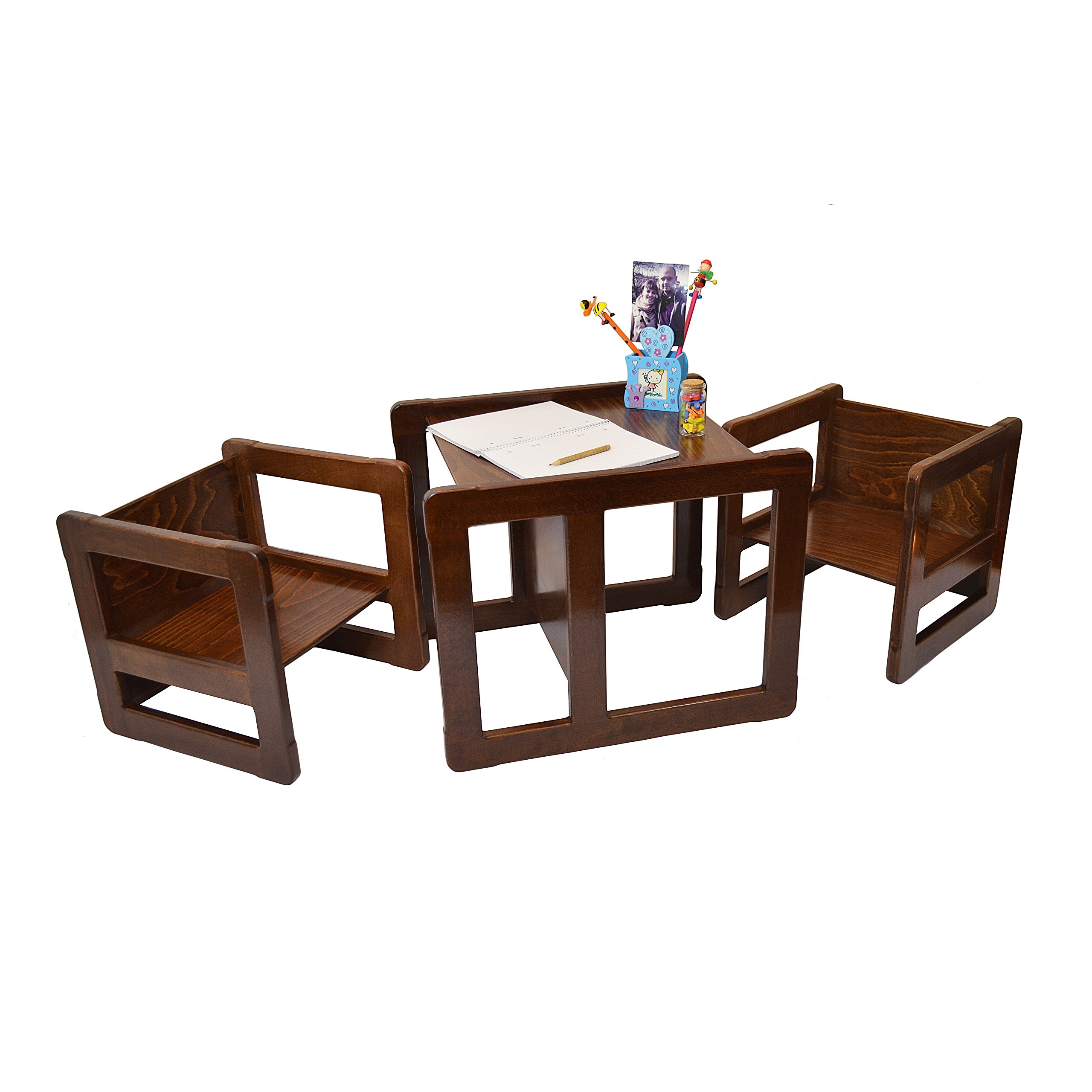 3 in 1 Childrens Multifunctional Furniture Set of 3, Two Small Chairs or Tables and One Large Chair or Table Beech Wood, Dark Stained
