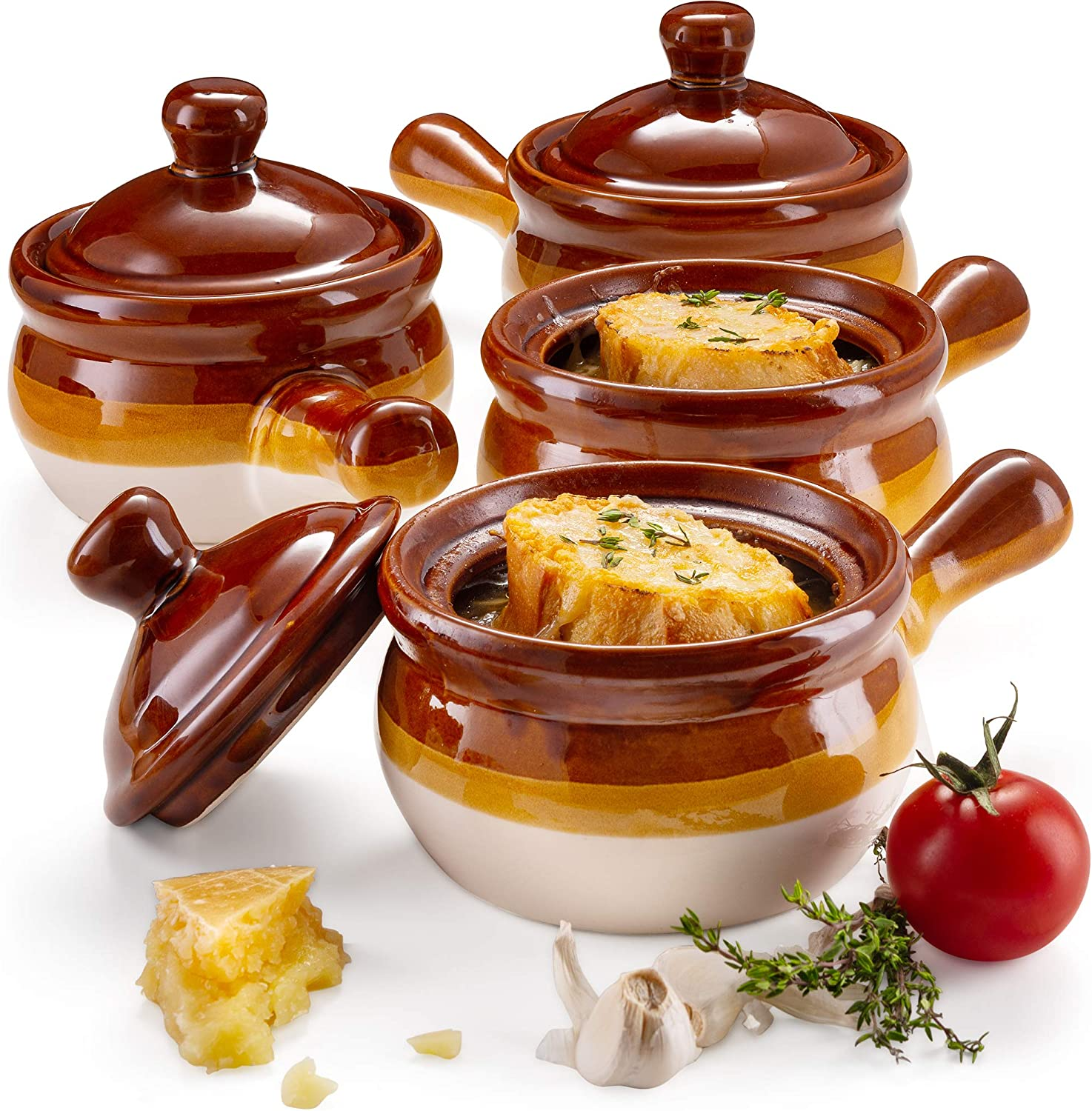 French Onion Soup Crock Bowls with Handles and Lid, 15 Ounce - Set of 4