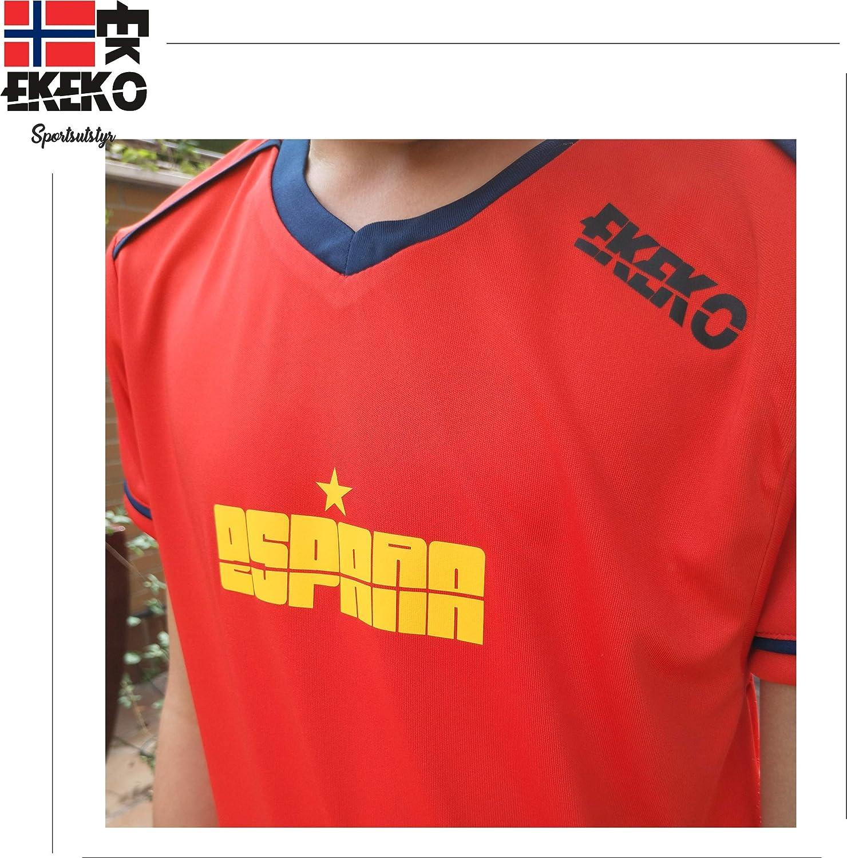 EKEKO Modelo Team Equipacion de Futbol Infantil Pack Equipacion Completa Espa/ña Italia. Pantalon y Camiseta