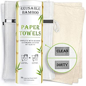 Electy Reusable Paper Towels – 20 Bamboo Paper Towels with 2 Wash and Storage Bags, 6 Month Supply, Zero Waste! Heavy Duty - Eco Friendly Paper Towels - Unpaper Towels - Paperless Paper Towels