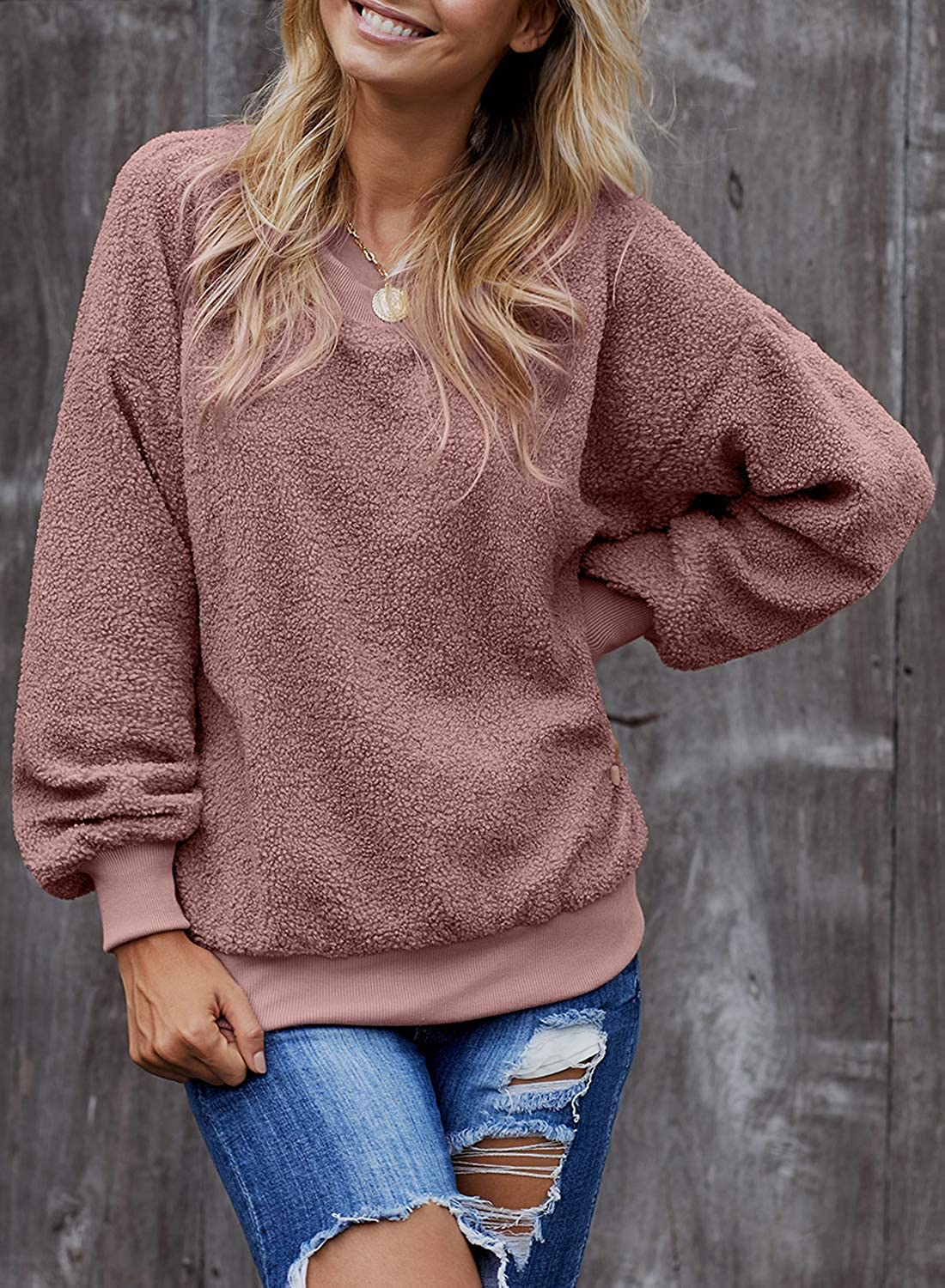 Ecrocoo Womens Crewneck Long Sleeve Fuzzy Solid Sweatshirt Tops Casual Loose Fitting Pullover Shirt
