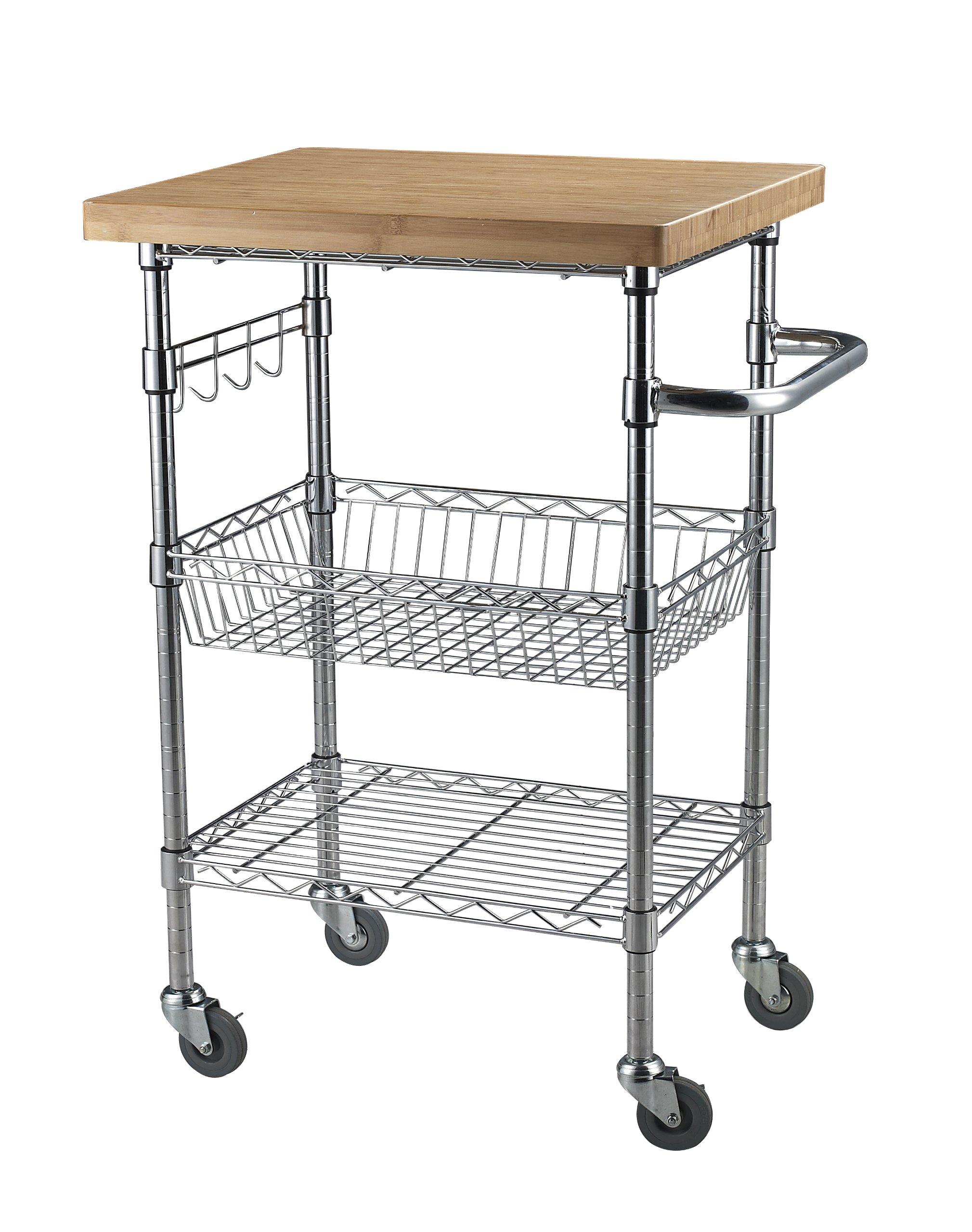 Sandusky Lee MKTBB242036 Bamboo Top Wire Cart, 20'' Length x 24'' Width x 36'' Height